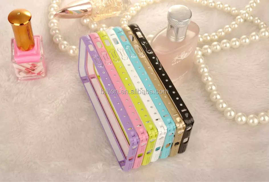 hot selling bake lacquer luxury diamond Aluminum Metal bumper phone case for iphone 5s 6 6plus