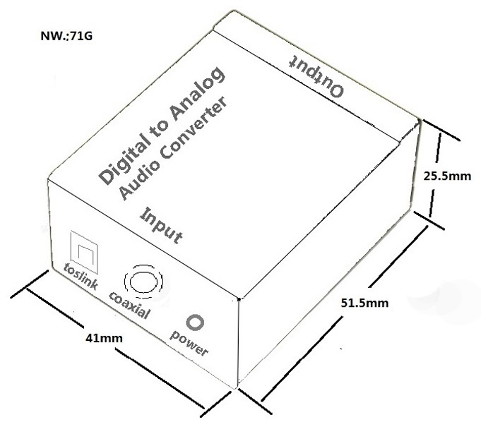 optical coaxial toslink signal digital to analog converter