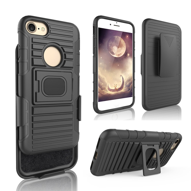 TPU PC 3 IN1 hard shell hybrid armor shockproof rugged kickstand belt clip holster combo mobile phone case cover for iphone 7