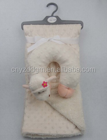 100% Polyester Embossed Solid Color Micro Mink Baby Blanket and Animal Shape Pillow