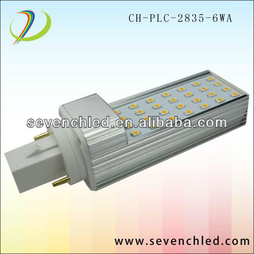 high power smd 2835 g24 led plug light bulb 6w come with CE UL