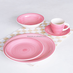 color pink stoneware dinner set with handpainted