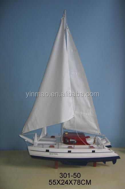 Wood Racing vessel Model, 55x24x78cm, White sailboat replic ship model, hand made art sea yacht collection