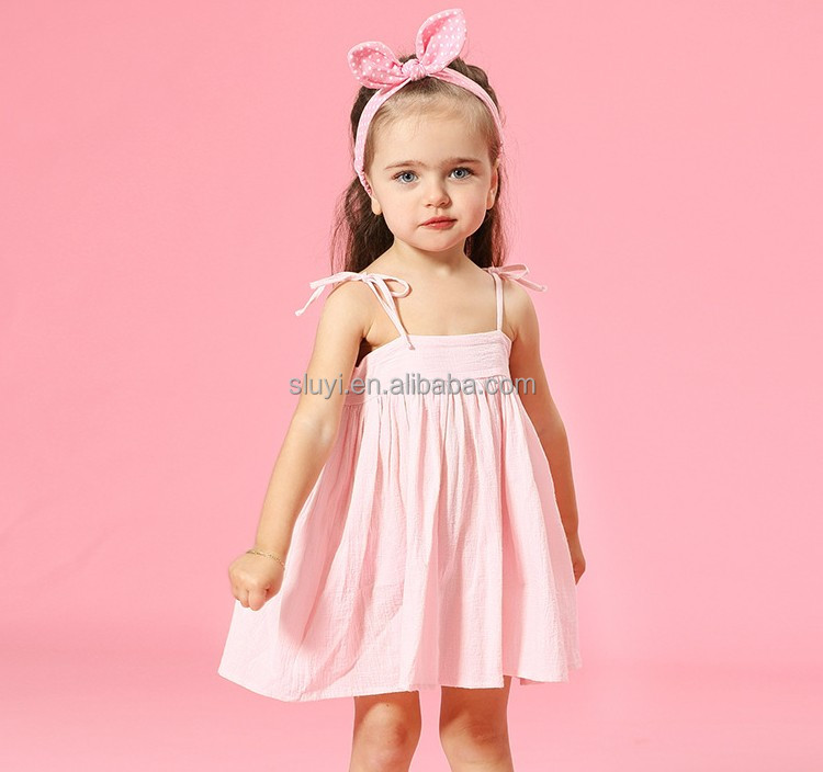 N908 Summer hot selling kids clothes 2017 wholesale good quality and low price pink pleated spaghetti strap kid dress girls