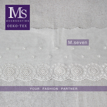 Elegant design bridal embroidered floral voile lace trim in white