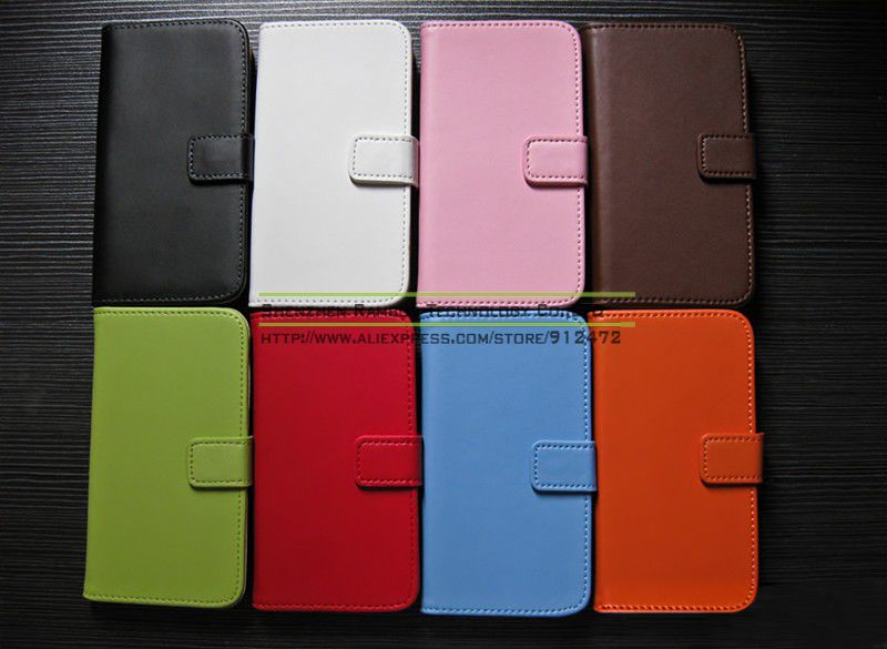 Protective Real Leather Flip Mobile Phone Case Pouch Cover for Samsung Galaxy S4 Mini i9190