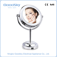 Round Make-Up Mirror Led Lighted Polished Chrome Makeup Mirrors With Lights Magnified