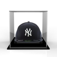 Clear acrylic hat display box, plexiglass cap hat diaplay case stand with black base