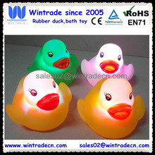 led Promotional Custom Floating Bath Duck Vinyl Rubber Toy OEM 6P PVC flashing rubber duck
