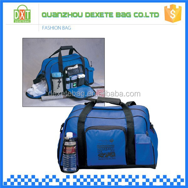 Detachable shoulder strap polyester duffel bag with secret compartment
