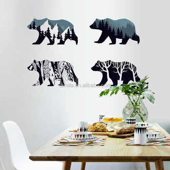 Polar Bear Wall Art Sticker home Decor Mural Kids Room Home Decoration Removable Cartoon decorative Sticker