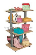 "Display Combo Clothing Rack Combination of 46"" tall double sided metal frame with 22""D X 28""W wood base with casters"