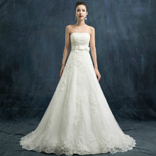 Custom Made Style/Size/Color 2016 Real Photo A Line Strapless Bride's Wedding Dresses
