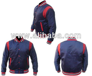 2015 new style black and red satin varsity jackets