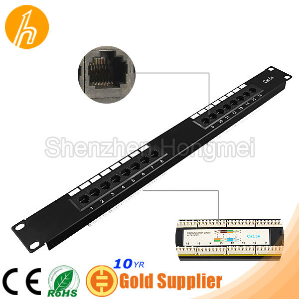 19 inch Cat.5e 16 port Patch Panel