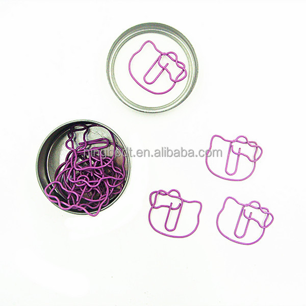 Fashion professional Hello kitty shaped paper clip in tin box