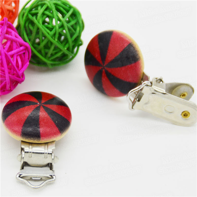 "5PCS Wood Baby Pacifier Clip Round Solid Windmill Printed Natural Color Metal Holders Red 4.4cm x 2.9cm(1 6/8"" x1 1/8"")"