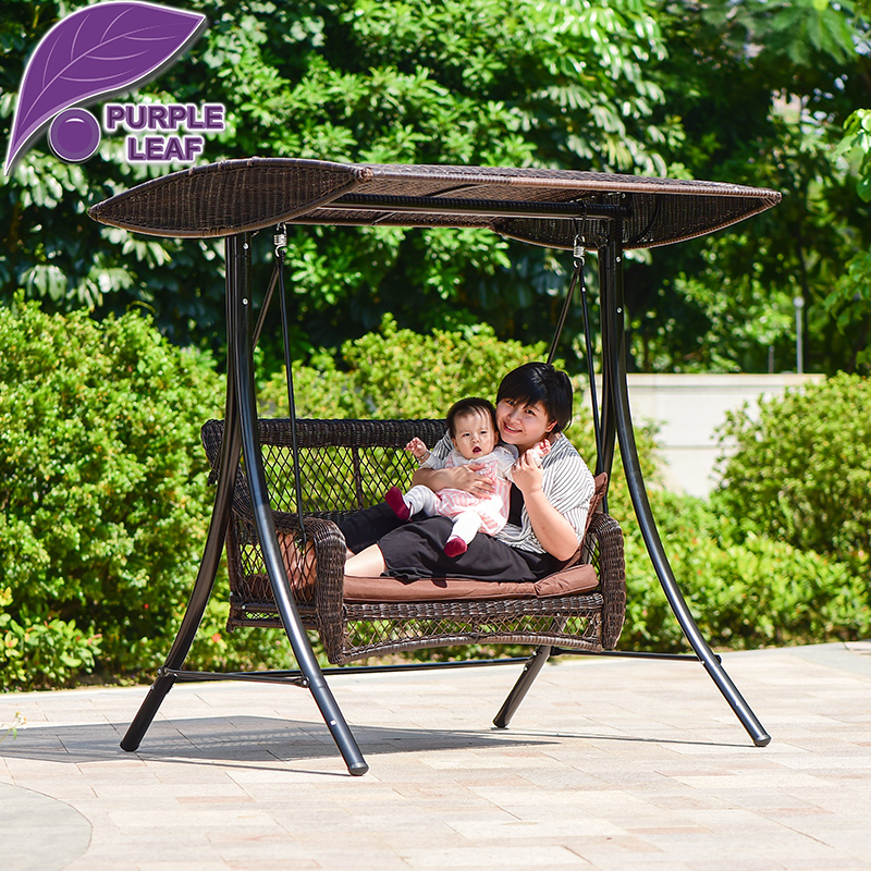 Purple Leaf Luxury Mutiple Seat Outdoor Garden Backyard Patio Swing with Canopy