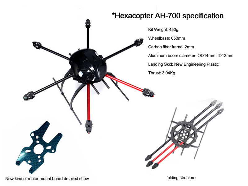 2015 competition best 381g AXN-AH700 hot drone hexacopter go pro with camera