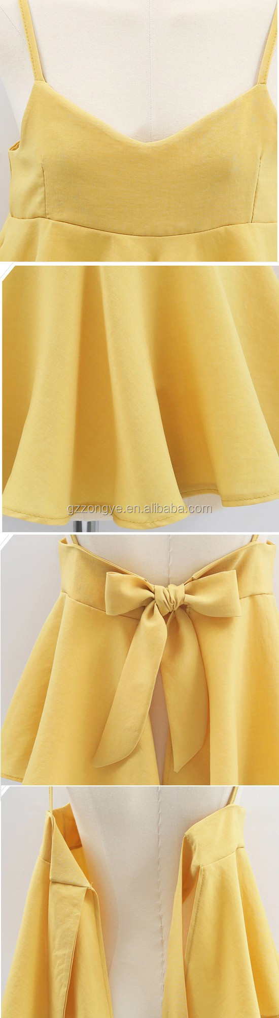 Wholesale cotton and linen comfortable shoulder-straps short blouses
