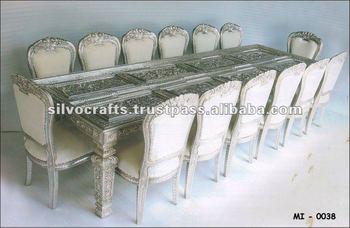 Royal carved silver dining table and dining chair set (silver dining room furniture from India)