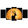 5 Panels HD Full Moon Landscape Canvas Painting Animal Deer Wall Picture for Living Room Ready to Hang on Wall/SJMT1928