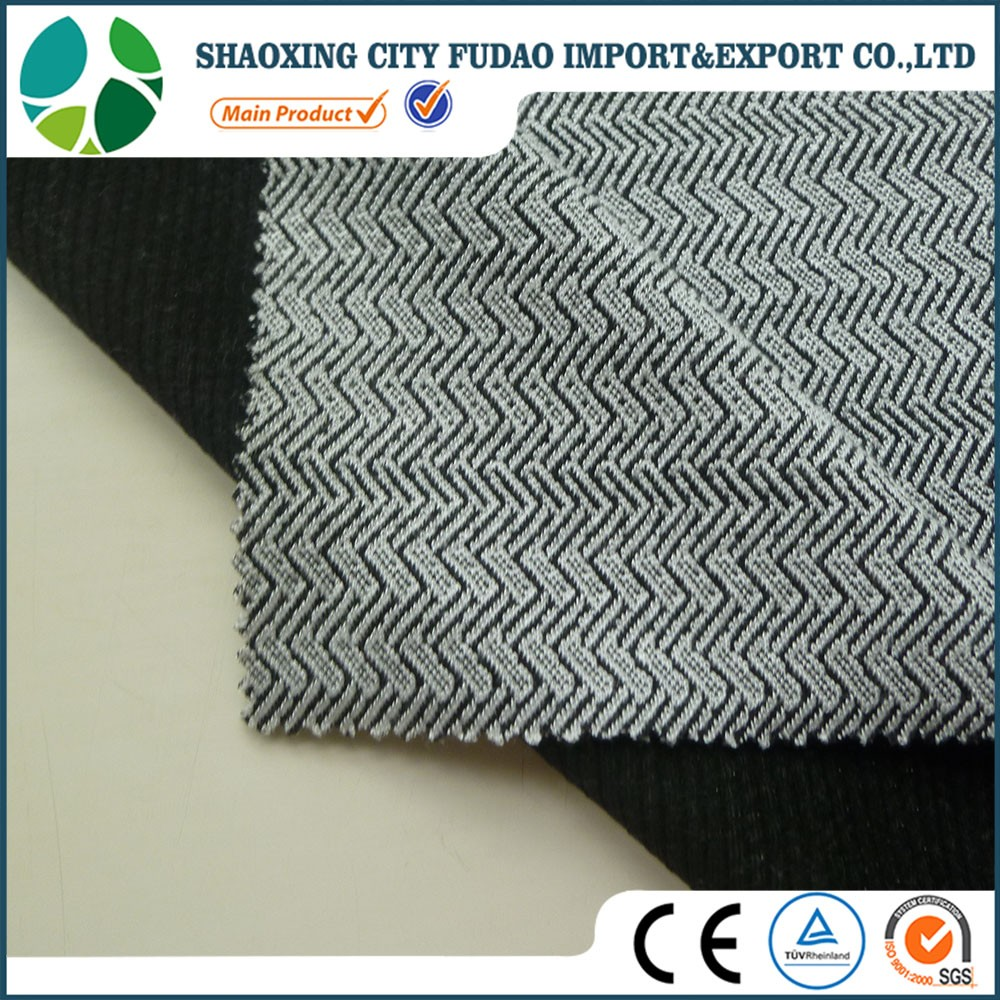 Polyester rayon spandex blend fabric black and white stripes style jacquard knitting fabric for dresses