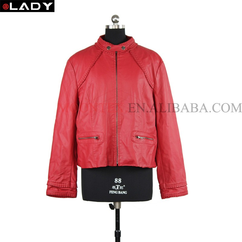 matte pu leather winter jacket for women 2016