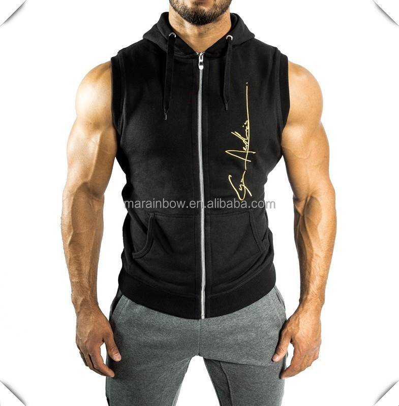 customized lightweight Sleeveless Zip Hoodie black with gold foil printing for gym and muscle bodybuilding
