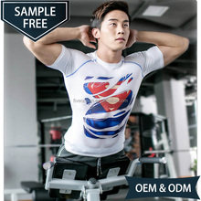 Custom Superman Slim Fit Super Hero Baselayer Quick Dry Short Sleeve Gym Running Fitness Workout Compression Shirt