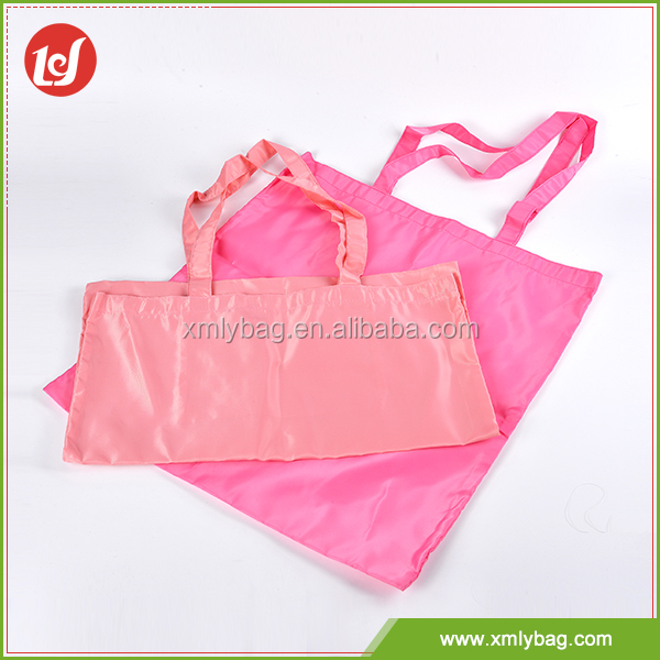 Bright color simple design OEM foldable polyester shopping bag