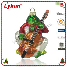 Lyhan handpainted glass frog playing violin for 2017 Christmas tree decoration