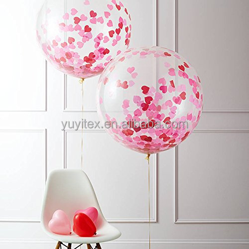 "Confetti Balloon Jumbo Latex Balloon Filled with Multicolor Confetti (36"" Red Heart)"