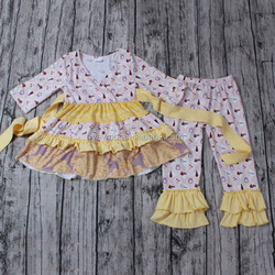 2016 yawoo neck designs patchwork dress and ruffle pants set wholesale girls fall clothes