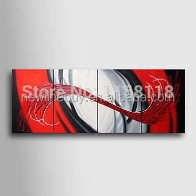 <strong>100</strong>% Hand-painted abstract decor modern art Painting on canvas hotel decoration - 4pcs wall paintings