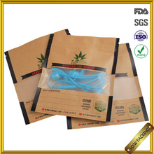 ziplock OEM printing flat craft paper bags with clear window
