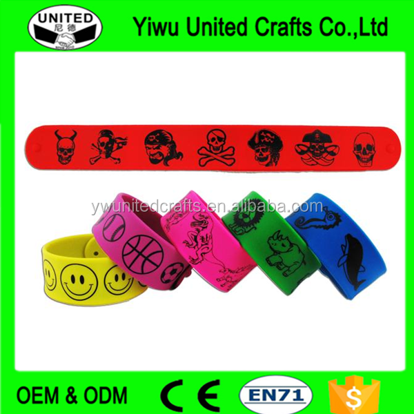 factory price promotion gifts , custom silicone slap bracelet for kids , Rock style silicone slap