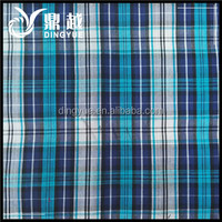 100% Cotton White Stripe Check Fabric Blue And Red Color For Bag And Shirt