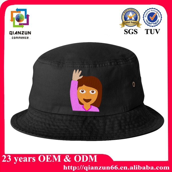 Fashion black cotton emoji custom printed bucket hats