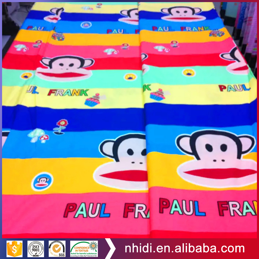 100% cotton combed monkey and floral design pigment bedsheet printing fabric