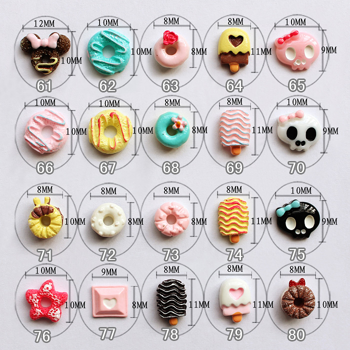 2016 New arrival resin sweet color ice cream/suger/cake nail charm 3D nail art wholesale