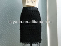 Fancy Tight Fit Lace Skirt With High Waist And Black For Lady