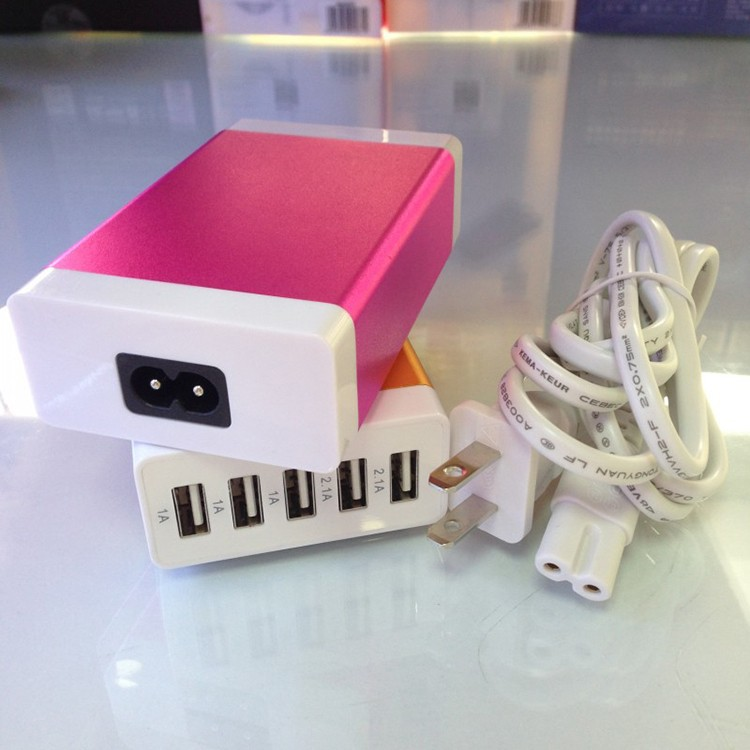 Wholesale new design super fast charging 5V 7A multiple port universal 5 usb travel wall charger For all mobile phones