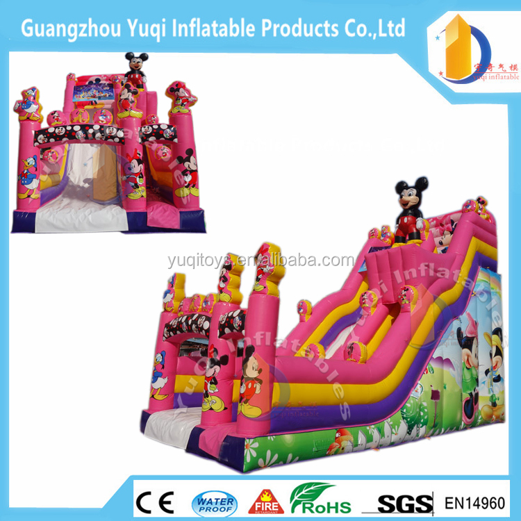2016 hot sale !! mickeyy mouse inflatable cartoon slide,custom inflatable slide giant slides for children playground