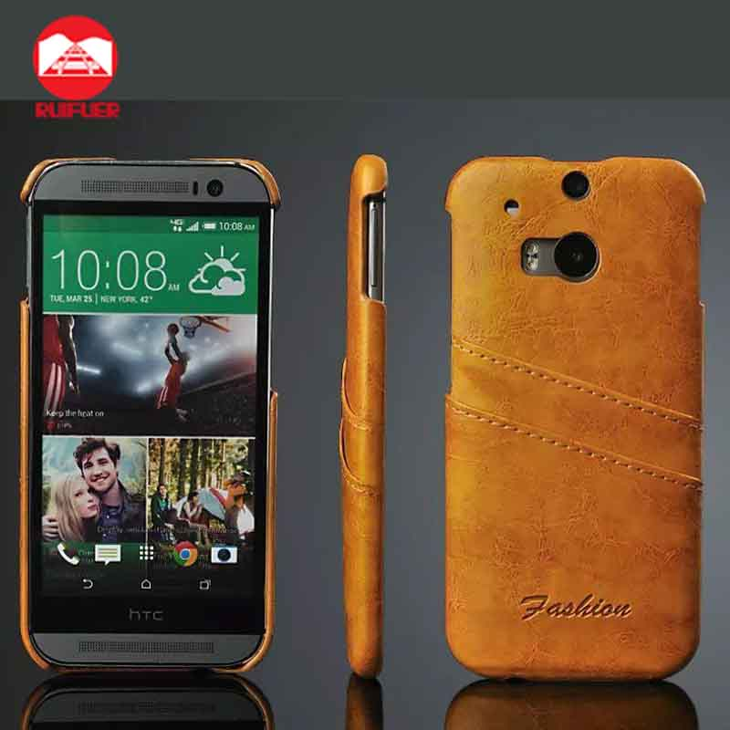 Manufacturer Wholesale Luxury Ultra Slim Snap On Vintage Card Slot Leather Back Case Cover for HTC ONE M8 M9