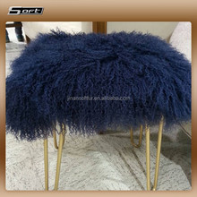Long Haired Tibet Lamb Fur Stool Cover Navy Blue Sheep fur