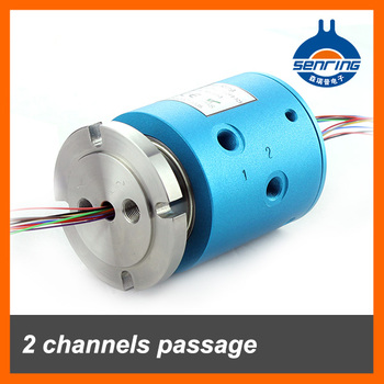 Pneumaticl Electrical slip Ring of 2 channels passage G1/8'' with 12 wires 2A
