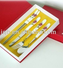 Stainless Steel Tableware set with ceramic handle and low price