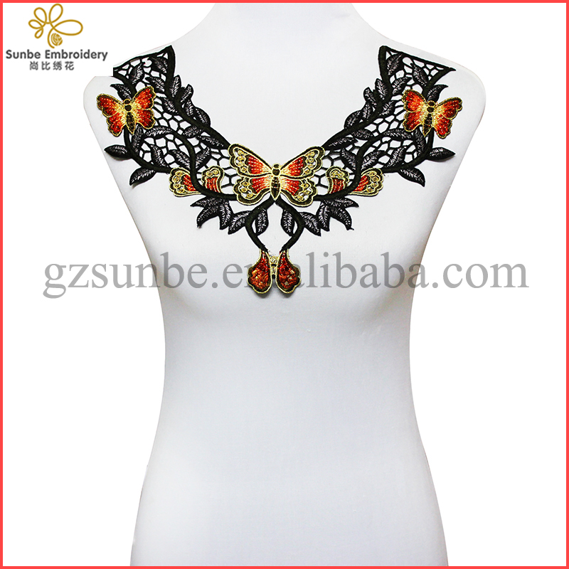 Butterfly Lace Embroidery Collar Lace Neck Patches Lace Motifs Applique Sew On Sticker for Craft Design can be customized