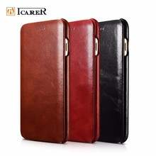 ICARER Customized Mobile Phone Side Flip Cover Genuine Real Leather Case For iPhone 7&7 Plus